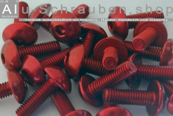 Aluminium Bolts | Red | M6 | ~ISO 7380 | Button Head