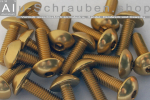 Aluminium Bolts | Gold | M4 | ~ISO 7380 | Button Head